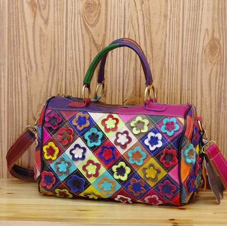 CAERLIFAB BOOPDO LINGGE PORTABLE LEATHER HANDBAGS IN MULTI COLOR
