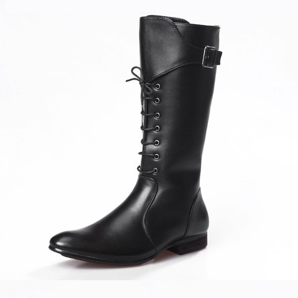 POLELIA KIKI POINTED TOE LACE UP LONG BOOT IN BLACK