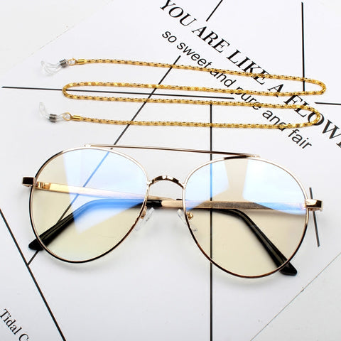 BOOPDO DESIGN METAL ROUND SUNGLASSES WITH CHAIN IN GOLD AND SILVER