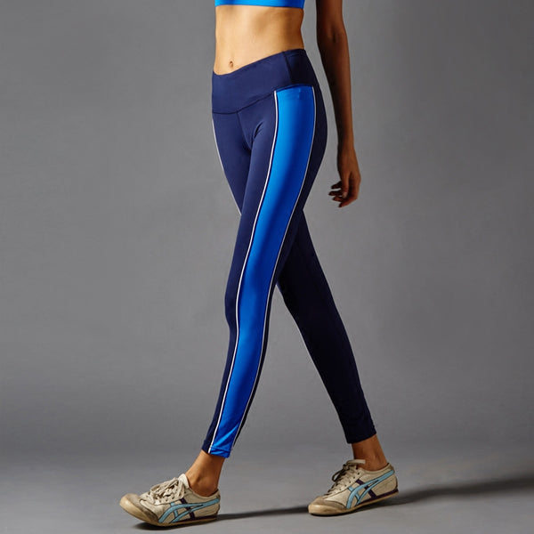 GYMNA COLOR BLOCK LEGGINGS IN NAVY AND BLUE - boopdo