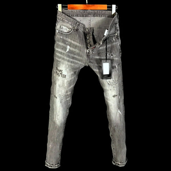 DSTWO PATCH RIPPED HOLE LOW WAIST SLIM DENIM PANTS IN GRAY - boopdo