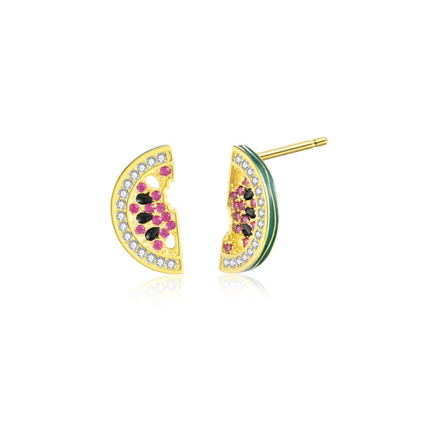 JELLY GIRL 14K GOLD PLATED CRYSTAL WATERMELON DESIGN STUD EARRINGS