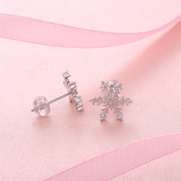 JELLY GIRL 925 STERLING SILVER CRYSTAL SNOW FLAKE STUD EARRINGS - boopdo