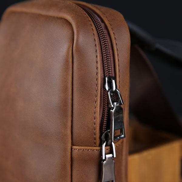CORRA MICZO MULTI FUNCTIONAL LEATHER CHEST BAG IN BROWN - boopdo