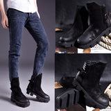 QCONEG COWHIDE BLACK ZIPPER TINMAR MATTE LEATHER BOOTS - boopdo