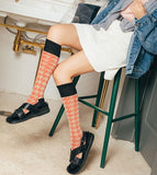 MONDAYS KNEE HIGH SOCKS WITH ABSTRACT STRIPE PATTERN - boopdo