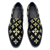 JINIWU VANGUARD GOLD LINE SNOWFLAKE SUEDE SHOES IN BLACK - boopdo