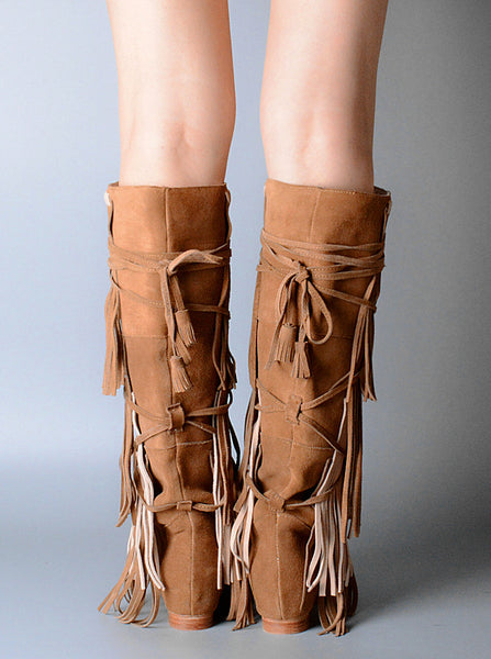 PROVAPERFETTO SUEDE TASSEL DETAIL SIDE LEG KNEE BOOTS