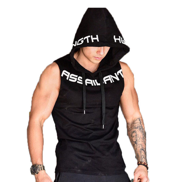 AGGRESSOR ASSAILANT EQUIPMENT FITNESS HOODIE SLEEVELESS T SHIRT - boopdo