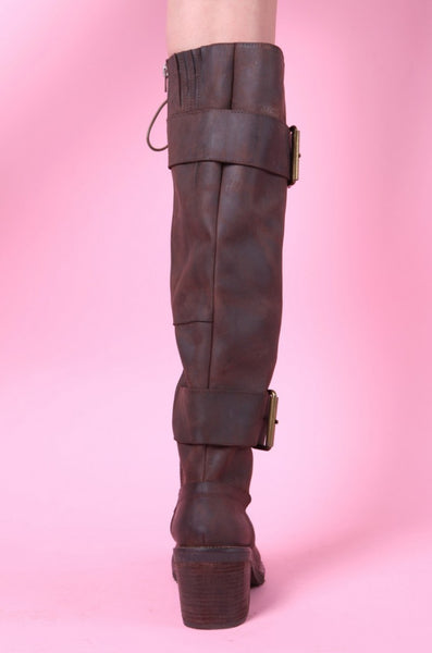 PROVAPERFETTO DESIGN LACE UP KNEE HIGH BOOTS IN BROWN 10809