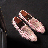 JINIWU VANGUARD HANDMADE LEATHER LOAFER SHOES IN ROSE POWDER WITH RIVET - boopdo