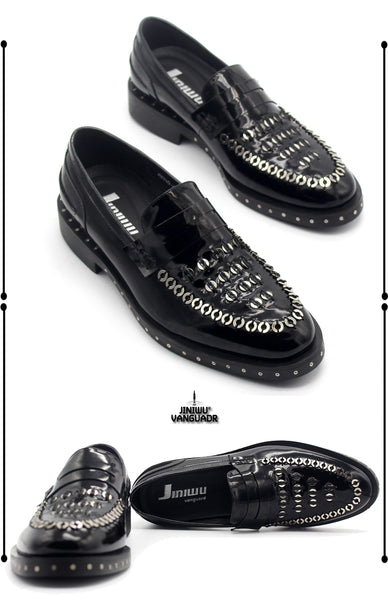 JINIWU VANGUARD HANDMADE CLASSIC STAINLESS COPPER OIL BLACK LOAFER SHOES