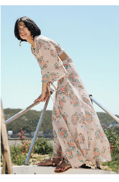 SINCE THEN CROPPED FLORAL PINT BLOUSE WITH MATCHING MAXI SKIRT