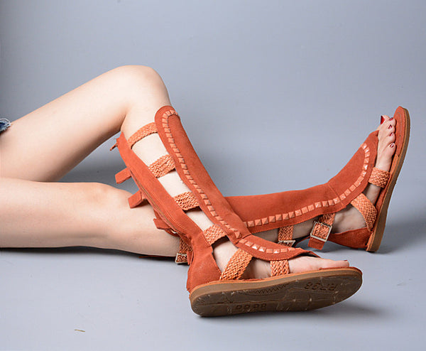PROVAPERFETTO KNEE HIGH GLADIATOR FLAT SANDALS - boopdo