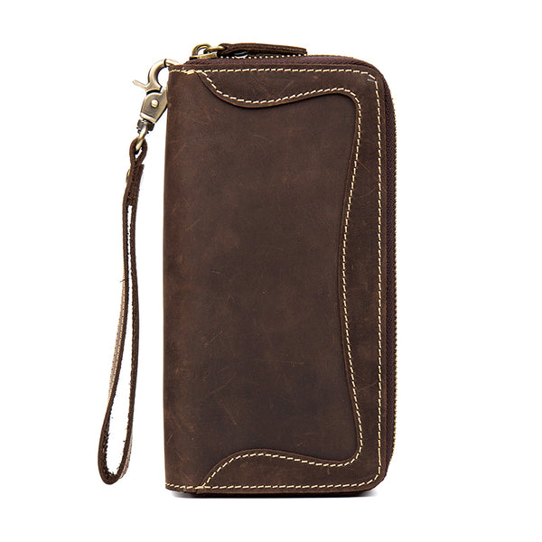 BOOPDO DESIGN MANTIME HANDMADE LEATHER WALLET WITH DOUBLE ZIPPER