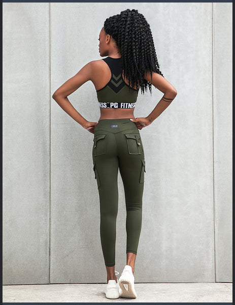 ELITE ABS SLINKY LEGGINGS WITH SIDE MILITARY POCKET DETAIL P1807608 - boopdo