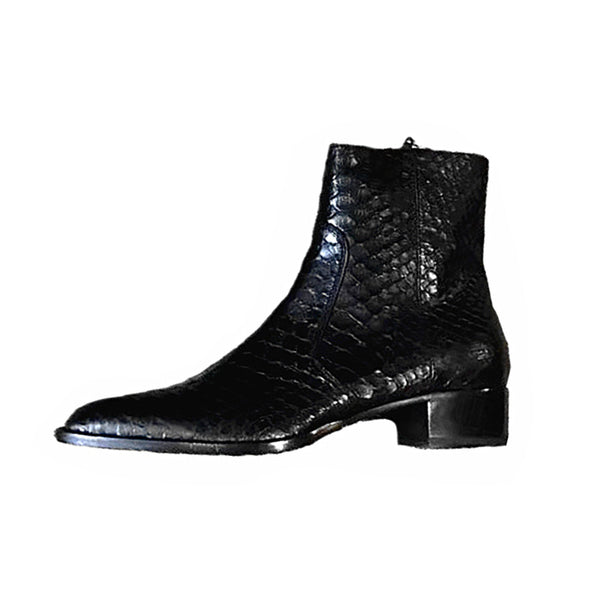 harpx hounds british snake skin leather black chelsea boots