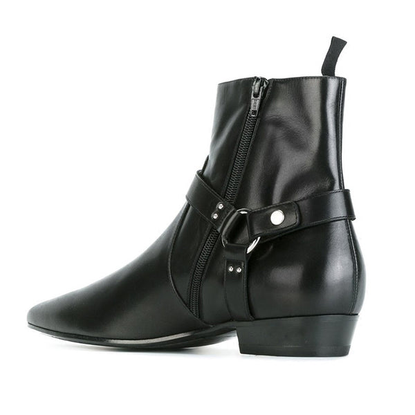 NADEMILI SEWING THREAD STYLE TOE POINTED BLACK LEATHER ANKLE CHELSEA BOOTS