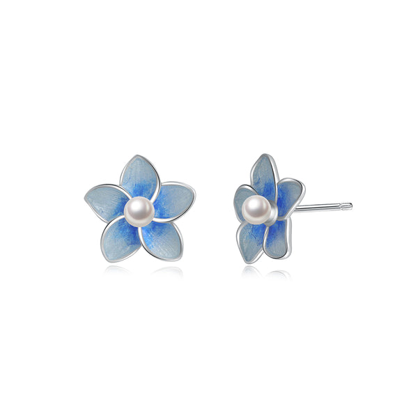 JELLY GIRL STERLING SILVER STUD EARRINGS IN BLUE IRIS DESIGN WITH PEARL DETAIL - boopdo