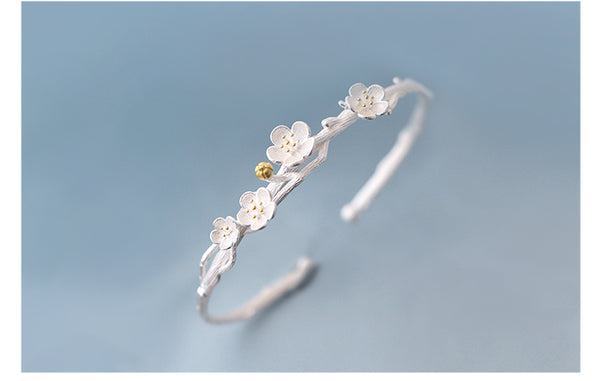 SILVER OF LIFE 925 CUFF BRACELET IN CHERRY BLOSSOMS IN SILVER