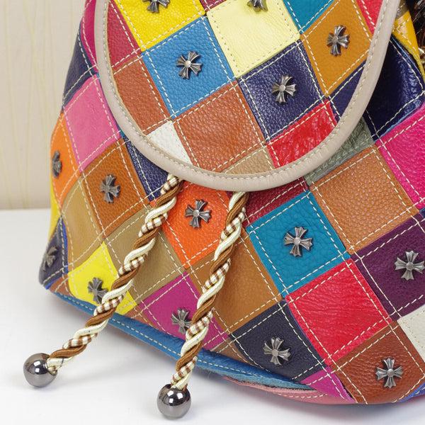 FALAFILIA ENVOGUE MULTI PURPOSE DIAGONAL CONTRAST COLOR HANDBAG WITH RIVET - boopdo