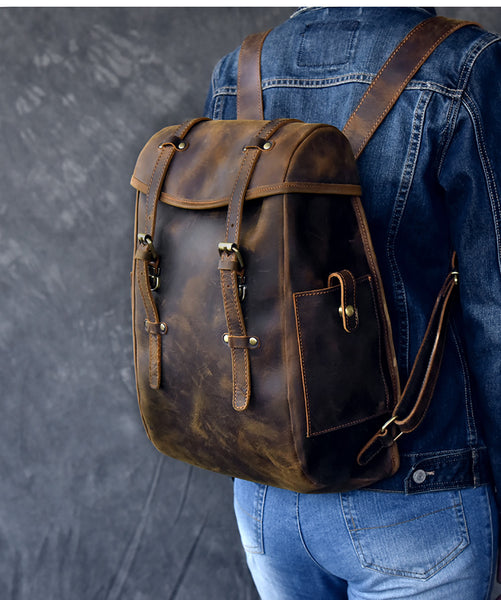 TWENTY FOUR STREET HANDMADE VINTAGE 14 INCH BROWN LEATHER BACKPACK - boopdo