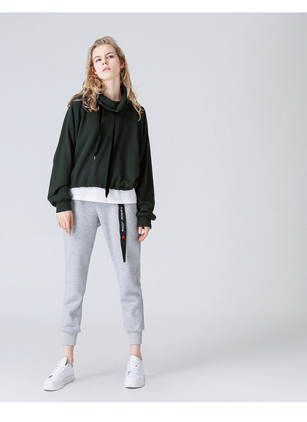 TOYOUTH ROLL NECK CROPPED SWEATSHIRT - boopdo