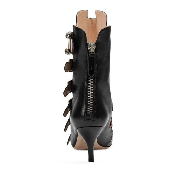 URBANWEAR SOCIAL CATWALK DESIGN BUCKLED LEATHER POINTED BOOTS