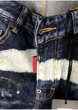 WALL GRAFFITI PRINT PATCHWORK PAINT DENIM JEAN SHORT PANTS IN NAVY