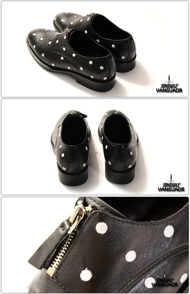 JINIWU VANGUARD BANQUET GLOSSY EMBROIDERED HANDMADE LEATHER SHOES IN BLACK