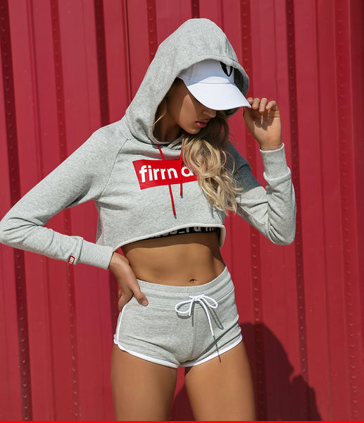 FIRM ABS SUPER CROP HOODIE WITH RED LACE  p18041203