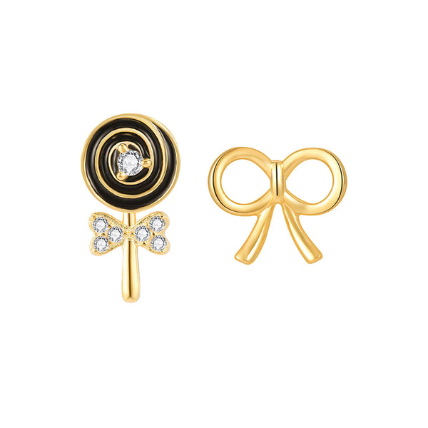 JELLY GIRL 18K GOLD LOLLIPOP AND BOW DESIGN STUD EARRINGS - boopdo