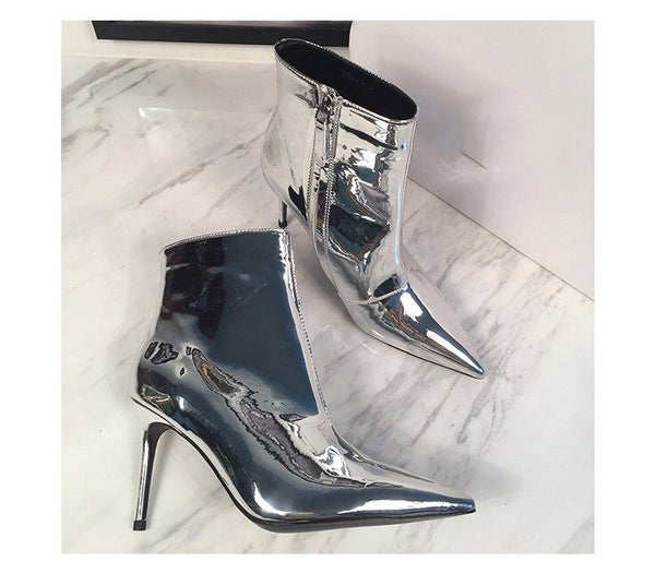 MARXIN SUPERSTAR SHINY HIGH HEELED ANKLE LEATHER BOOTS