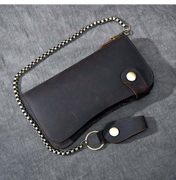 TWENTY FOUR STREET RETRO LONG LEATHER MULTI CARD WALLET WITH CHAIN - boopdo