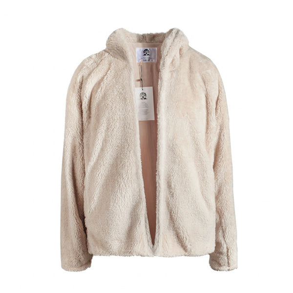 VANG KINGO PLUSH HOODED COAT IN BEIGE - boopdo
