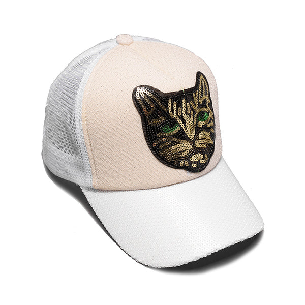 CHUNGLIM CAT HEAD SEQUIN EMBOSSED CURVED BREATHABLE CAPS