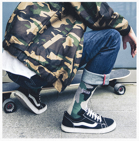 ACALEN THREE PACK SOCKS IN CAMO PRINT