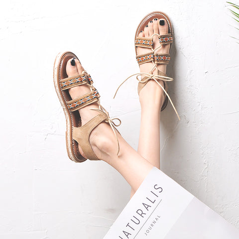 BOOPDO DESIGN ETHNIC PATTERN CROSS STRAP SANDALS