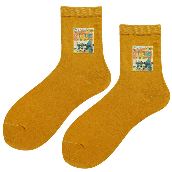 BOOPDO DESIGN ANKLE SOCKS WITH FAMOUS PAINTING PATCH PRINT - boopdo