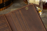 MANTIME TWERKY DESIGN HANDMADE LEATHER CARD HOLDER WALLET IN BROWN - boopdo