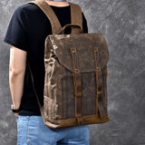 TWENTY FOUR STREET HANDMADE OIL WAX CANVAS DISTRESSED WATERPROOF 15 INCHES BACKPACK - boopdo