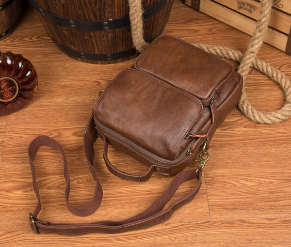 BOOPDO DESIGN MANTIME HANDMADE CASUAL LEATHER CHEST BAG IN BROWN - boopdo