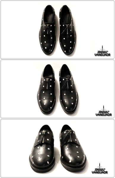 JINIWU VANGUARD BANQUET GLOSSY EMBROIDERED HANDMADE LEATHER SHOES IN BLACK - boopdo