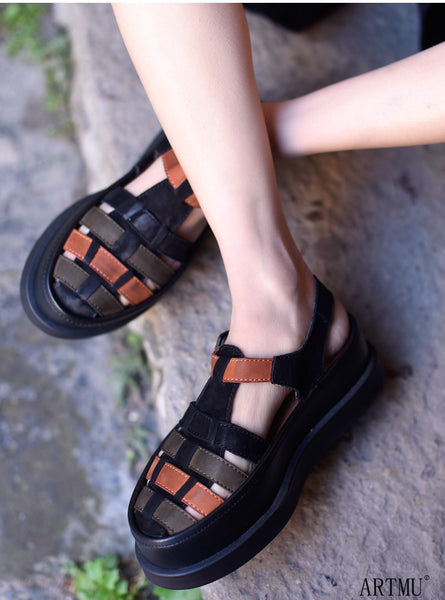ARTMU LEATHER WOVEN SANDALS IN COLOR BLOCK - boopdo