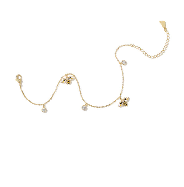 ZEGL GOLD PLATED BUMBLE BEE ANKLET