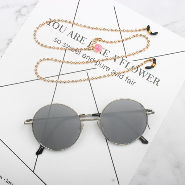 IDOL CAI XUKUN ROUND FRAME SUNGLASSES WITH CHAIN