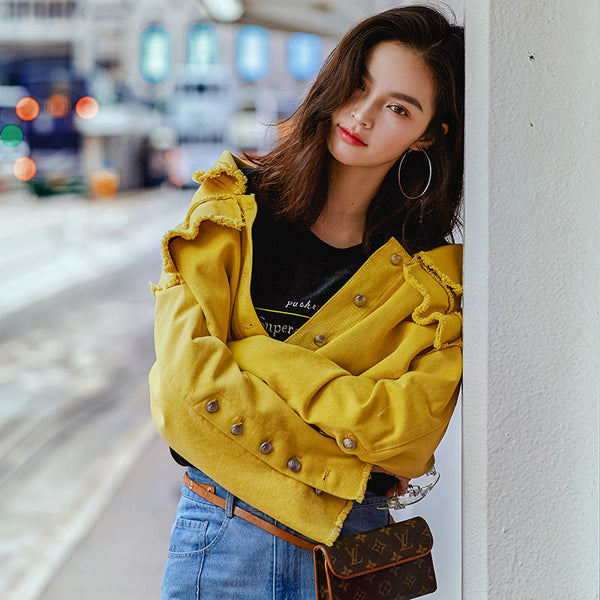 8GIRLS DESIGN OVERSIZED CROP DENIM JACKET IN YELLOW - boopdo