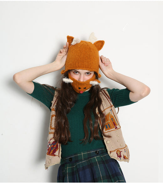 MISMEMO REINDEER KNITTED HAT AND MOUTH MASK IN MUSTARD - boopdo