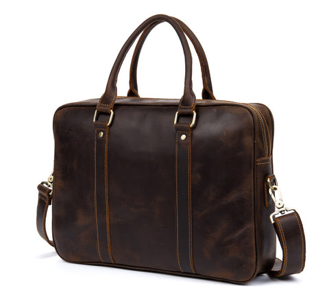 BOOPDO DESIGN MANTIME BUSINESS BRIEFCASE LEATHER HANDBAG IN BROWN