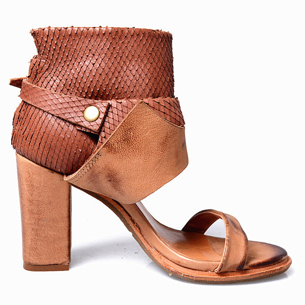 PROVAPERFETTO BUCKLE DESIGN BLOCK HEELED LEATHER SANDALS - boopdo